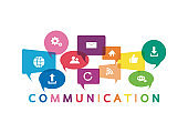 Vector illustration of a communication concept. The word communication with colorful dialog speech bubbles