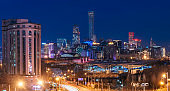 Night on Beijing Central Business district buildings new skyline, China cityscape