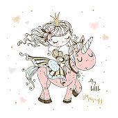 A fabulous cute Princess rides a pink unicorn. Vector