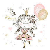 Cute little Princess with balloons. Vector illustration.