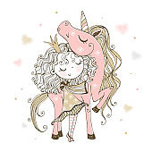 Cute little Princess with a pink unicorn. Vector
