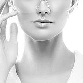 Lips, beauty part of woman face. Monochrome