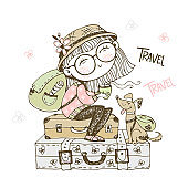 Cute girl tourist with a backpack sitting on suitcases with her dog. Vector.