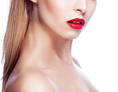Red lips, beauty partial woman face