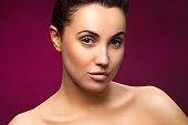 beauty face of beautiful young modern woman, perfect skin