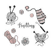 A set of elements on the theme of knitting. Yarn, knitting needles, and mittens. Vector
