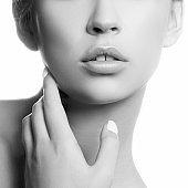 Lips, part of beauty face. Monochrome