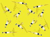 Manga Man Tennis Flat Serve Cartoon Vector Illustration Seamless Background