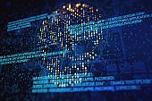 Abstract virtual code skull illustration on blue background. Hacking and phishing concept. 3D Rendering