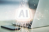 Creative artificial Intelligence symbol concept with modern laptop on background. Multiexposure