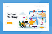 Online Meeting Landing Page Template. Webcam Conference with Coworkers on Huge Computer. Business Characters Video Call