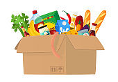 Food Box Isolated on White Background. Carton Container Full of Different Food, Grocery Production, Vegetables, Bread