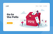 Election and Social Poll Landing Page Template. Tiny Voters Characters Casting Ballots at Polling Place During Voting