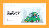 Situation on Road, Driver Aggression Landing Page Template. Car Accident or Conflict on Highway, Male Character Arguing