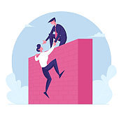 Business Leader Character Help Colleague Climb on Top of High Wall. Businessman Help Teammate to Overcome Problems. Teamwork, Leadership Mutual Assistance Concept. Cartoon People Vector Illustration