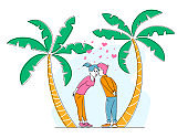 Young Sweet Couple Kissing on Tropical Nature Background with Palm Trees and Hearts around. Pair in Love, Man and Woman Valentines Day on Exotic Resort. Romantic Relation. Linear Vector Illustration