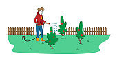 Horticulture, Olericulture or Gardening Hobby. Young Woman Character Watering Plants from Hose Outdoors in House Yard. Girl Cottager on Open Air Caring of Orchard Bushes. Linear Vector Illustration