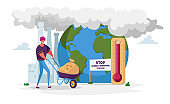 Man Character Pushing Wheelbarrow with Garbage Sack for Recycling Passing Huge Thermometer with High Temperature on Earth. Environment Nature Pollution, Global Warming. Cartoon Vector Illustration