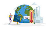 Green Energy, Global Warming and Environment Problems Concept. Man Character Set Up Solar Panel against Earth Globe. Renewable Power of Sun, Clean Electricity Development. Cartoon Vector Illustration