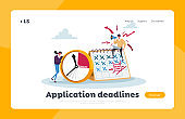 Deadline, Working Productivity, Time Management Landing Page Template. Busy Businesspeople at Huge Clock and Calendar