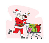 Santa Claus with Loudspeaker Pushing Shopping Trolley Announcing Christmas Sale. Xmas Character in Red Suit Advertising