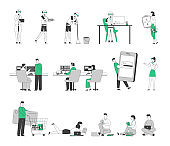 Set of Male Female Characters Airplane Dispatchers Working, Robots and Cyborg Service, People Using Gadgets and Doing Shopping. Students Studying with Books and Computers. Linear Vector Illustration