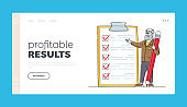 Checklist, Planning Deals or Thinking New Ideas Landing Page Template. Businessman Presenting Check List Questionnaire