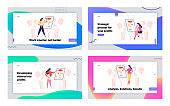 Business Presentation, Workflow Algorithm Landing Page Template Set. Businesswoman Female Character at Whiteboard with Mindmap Charts in Office. Financial Couch Seminar. Cartoon Vector Illustration