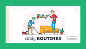 Happy Couple Homework Duties or Everyday Activity Landing Page Template. Man and Woman Characters Clean House Together