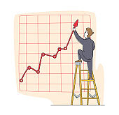 Businessman Character Stand on Ladder Directing Huge Growing Arrow Up. Business Chart Growth Curve on Coordinate System