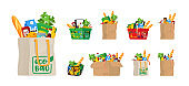 Food in Grocery Basket, Eco or String Bag and Carton Box. Different Shopping Bags with Production Vegetables, Bread