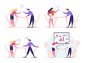 Angry Business Characters Quarrel and Fight, Business Man and Woman Arguing in Office. Competition, Colleagues Fighting for Leadership, Disagreement Speech Bubbles. Cartoon People Vector Illustration