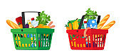 Food in Grocery Basket Isolated on White Background. Shopping Cart Full of Different Production Vegetables or Milk