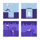 Set of Business People in Danger Situation, Male Characters Stand above Abyss and Deep Hole with Trap and Dollar on Bottom, Climbing on High Mountain, Crisis, Bankruptcy. Cartoon Vector Illustration