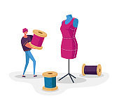 Sewing Workshop and Atelier Worker Concept. Tailor or Dressmaker Profession, Man Character Holding Skein Thread at Huge Dummy. Textile Clothing Manufacturing, Fashion. Cartoon Vector Illustration