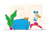 Sport, Active Healthy Life. Young Sportswoman with Fit Body Training at Home, Female Character Doing Lunge with Dumbbell