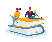 Tiny Male and Female Characters Reading and Working on Laptop Sitting on Huge Books Pile. Students Spend Time in Library