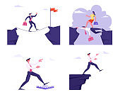 Set of Business People in Dangerous Crisis Situations Going to Abyss, Step to Trap, Running over Head of Colleague. Careerist Businesswoman Goal Achievement Concept Cartoon Flat Vector Illustration