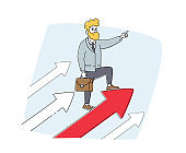 Business Man Stand on Huge Rising Arrow Show Direction. Male Character Move to Success on Growing Arrow Chart