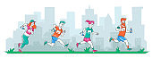 Group of Diverse People in Sports Wear Running City Marathon on Cityscape Background. Summertime Outdoor Sport Activity. Sportsmen Characters Healthy Jogging Lifestyle. Vector Linear Illustration