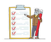 Businessman Character Presenting Check List with Filled Marks in Boxes. Checklist, Searching Solution, Planning Deals