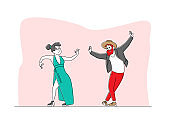 Characters Perform Modern Dances. Young People Dancing on Disco Party or Scene. Man and Woman in Fashioned Clothing Moving Body to Music Rhythm, Happy Leisure and Sparetime. Linear Vector Illustration