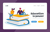 Students Spend Time in Library or Prepare for Grammar Test Examination Landing Page Template. Tiny Characters Reading