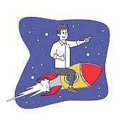 Businessman Character Flying on Rocket in Space. Office Worker Fly Up by Spaceship. Self Development, Career Boost