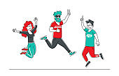 Happy Jumping People. Office Workers Team or Friends Joy, Hipster Characters, Cheerful Corporate Employees, Young Male and Female Students in Casual Clothes Diverse Group. Linear Vector Illustration