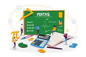 Math Science Concept. Tiny Male and Female Students Characters in Lab or School Class Learning Mathematics at Huge Blackboard. People Gaining Education and Writing Formula. Cartoon Vector Illustration