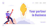 Financial Idea Strategy Realization Website Landing Page. Businessman Launch Light Bulb in Shape of Rocket Push Lever Arm, Business Project Startup Web Page Banner. Cartoon Flat Vector Illustration