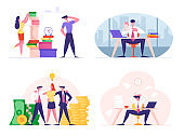 Set of Businesspeople Men and Women Overworked with Paperwork in Office, Demonstrate Certificate, Happy Team Stand near Huge Money Piles. Business People Lifestyle Cartoon Flat Vector Illustration