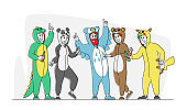 Costume Party Concept. Happy Drunk Friends Rejoice at Festive Event Celebration. Hipster Men and Women in Pajamas