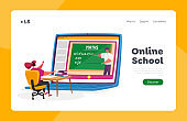 Electronic Course, Online Education in Internet at Home Landing Page Template. Female Character Sit at Desk Maths Lesson